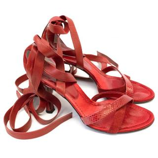 Dolce & Gabbana Red Lace-Up Suede and Leather Sandals