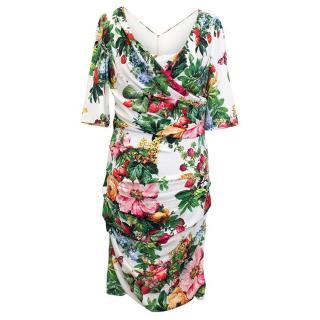 Dolce & Gabbana 3/4 Length Sleeve Floral and Fruit Dress