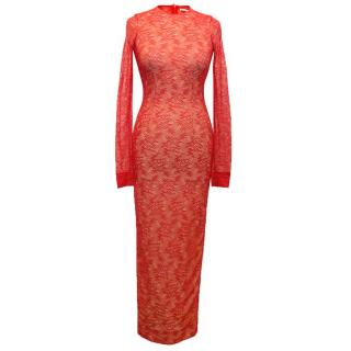 Alessandra Rich Red Long Sleeved Lace Dress