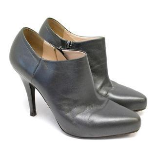 Prada Dark Grey Leather Ankle Boots