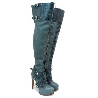 Dior Teal Guetre Over-The-Knee Boots