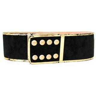 Balmain Black and Gold High Waisted Suede Belt with Crystals