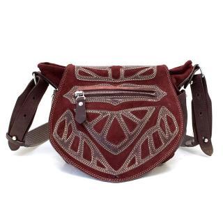 Isabel Marant Burgundy Ballwin Embroidered Suede Shoulder Bag