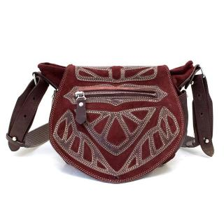 Isabel Marant Burgundy Ballwin Embroidered Suede Shoulder Bag