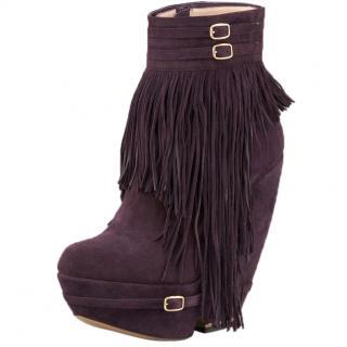 Nicholas Kirkwood Purple Suede Fringe Ankle Boots