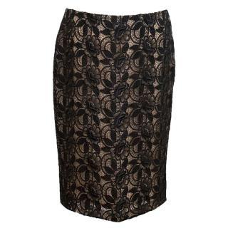 Alexander McQueen Black Floral Lace Pencil Skirt