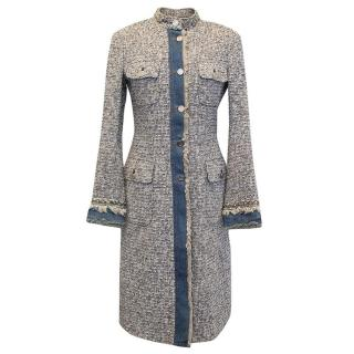 Dolce & Gabbana Long Grey and Blue Tweed and Denim Coat