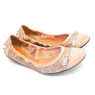 Tod's python pale pink flats