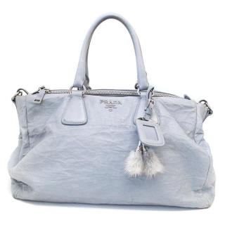 Prada Bird Egg Blue Vitello Shine Tote Bag