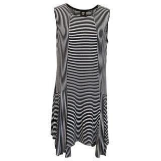 Anna Sui Black and White Sleeveless Striped Dress