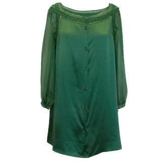 Philosophy Di Alberta Ferretti Green Silk Blouse/Tunic