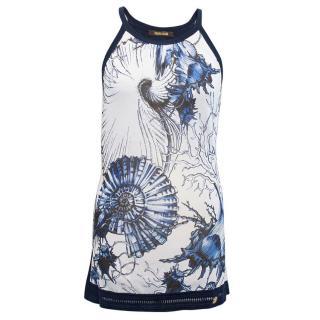 Roberto Cavalli Blue and White Sleeveless Floral Top