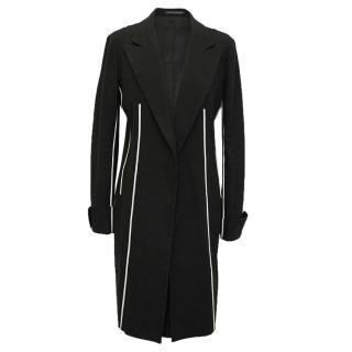 Yohji Yamanoto Black Coat with White Trim