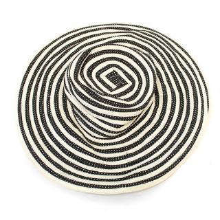 Caroline Charles Black and Cream Striped Sun Hat