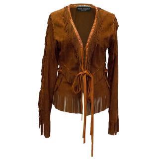 Dolce & Gabbana brown goatskin fringe jacket