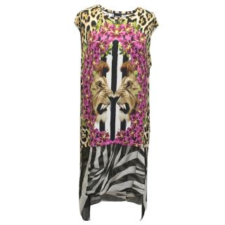Just Cavalli Mixed-print shift dress