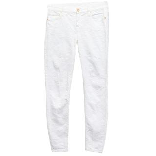 7 For All Mankind White Embroidered Skinny Jeans