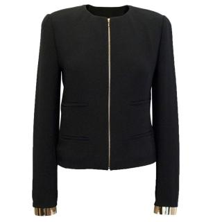 Chloe Black Zip Jacket with Gold Cuffs