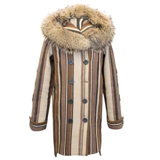 Balenciaga Brown and Cream Wool Hooded Coat