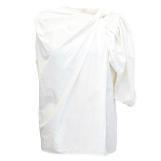 Lanvin Off White Asymmetric Blouse