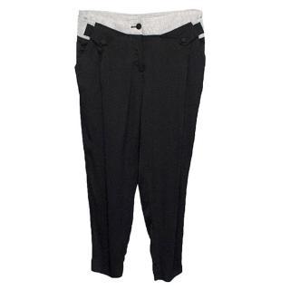 Robert Rodriguez Black Silk Blend Trousers with Grey Waist