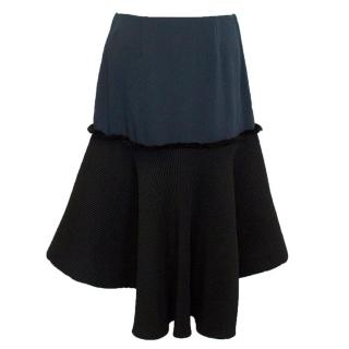 Cedric Charlier Blue and Black pleated skirt