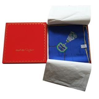 Murt De Cartier Blue Silk Scarf