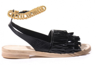 BALENCIAGA Tassel Fringe Leather Gold Chain Track Sandal