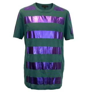 Burberry Green t-shirt with metallic purple stripes