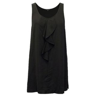 Theory Black Sleeveless Top with Ruffle