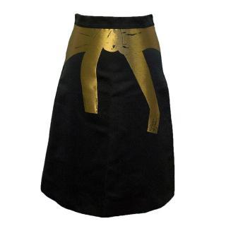 Osman Yousefzada high waisted black and gold skit
