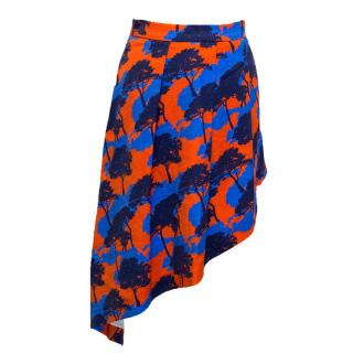 Osman orange and blue tree print skirt