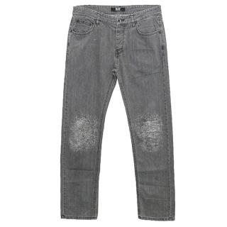 Raf by Raf Simons Grey Jeans with Graphic Detail on the Knee