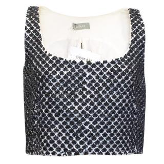Osman White Crop Top Embellished with Black Beads