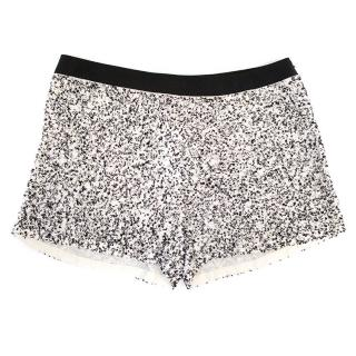 Osman black and white sequin shorts
