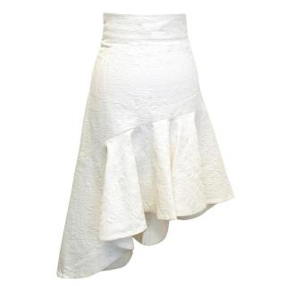 Osman white jacquard skirt with flare bottom
