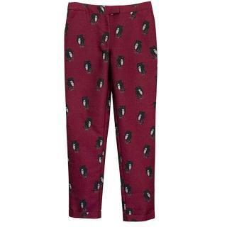 Osman Yousefzada burgundy print trousers