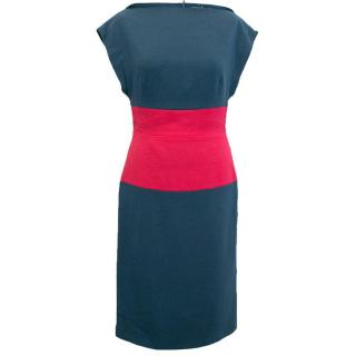 Osman Sleeveless Blue Dress with Pink Panel