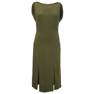 Osman green midi sleeveless dress