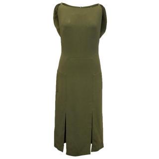 Osman green midi sleeveless dress