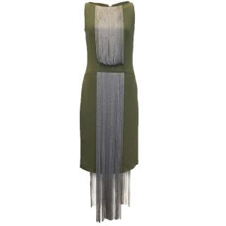 Osman green midi dress with fringe