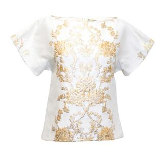 Osman Cream Short Sleeved Top with Gold Baroque Detail