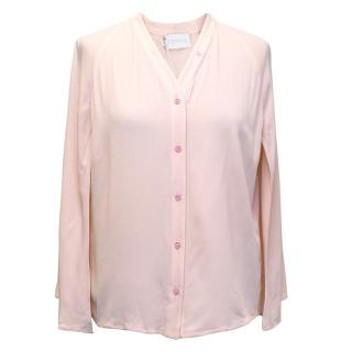 Osman Light Pink Cape Sleeved Silk-Blend Blouse