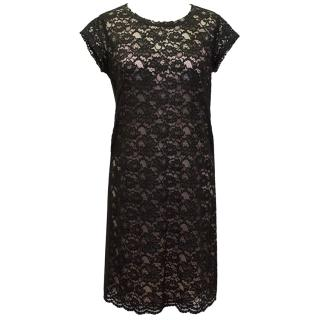 Pinko Black Lace Tunic with pink slip underdress