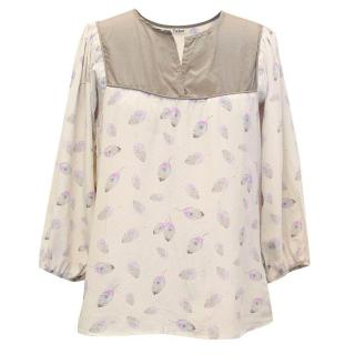 Tucker leaf print blouse