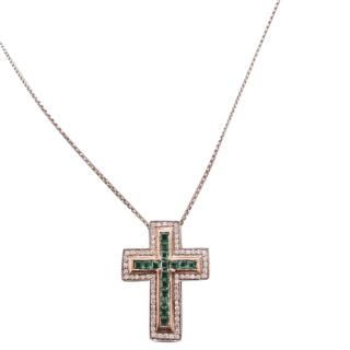 Diamond and Emerald necklace with chain