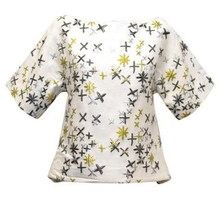 Osman White Top with Embroidered Silver and Gold Stars