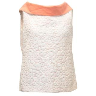 Osman Peach and White Flower Print Top