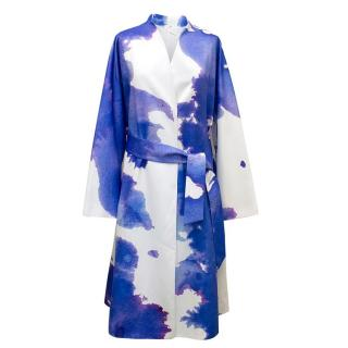 Osman Ink Blue and White Watercolour Effect Long Jacket