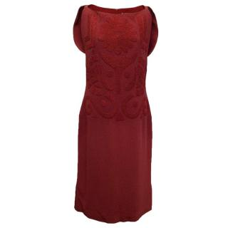 Osman red beaded sleeveless dress